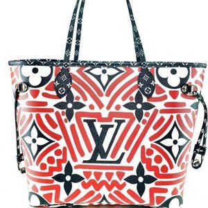 Louis Vuitton Red Crafty Neverfull MM with Pouch
